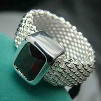 Min.order is $15(mix) R085 Square Ring ! High Quality,  silver square ring. Fashion jewellry silver rings