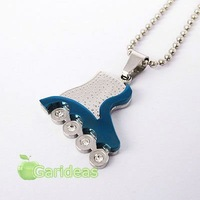 Free shipping +Wholesale Stainless Steel Blue Roller Skates Crystal Chain Pendant Necklace  New Cool Gift Item ID:3789