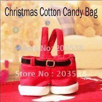 Free Shipping 2014 Christmas Decoration Supplies Christmas Gift Santa Pants Style Christmas Candy Bag 10pcs/lot