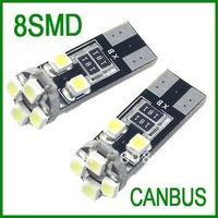 Free shipping 50pcs white light  T10 W5W 194  8 SMD 5050 no Error canbus led car light