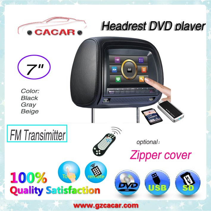 2012 hot 7inch touch screen car headrest dvd player+TFT LCD panel +HD(China (Mainland))