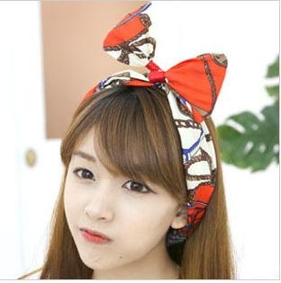 2012 hot selling hairwears wholesale 10pcs/lot Multi Colors Vintage Printed Bow Wire Headbands