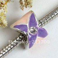 5pcs Purple Flower Crystal Enamel Big Hole Bead Fit Charm European