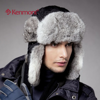 free shipping  autumn new Kenmont rabbit fur leifeng hat windproof waterproof plus size big km-2130