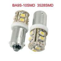 free shipping,100pcs/lot, BA9S BAX9S 10SMD 3528 LED 12V LED Car Indicator Light rear light