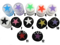 Free Shipping! UV acrylic star fake ear taper fake plug piercing  Body Jewelry 305