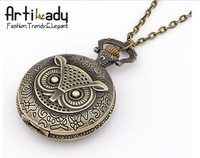 Artilady  round design owl movement pocket watch chains necklaces gold engagement  Style Necklace