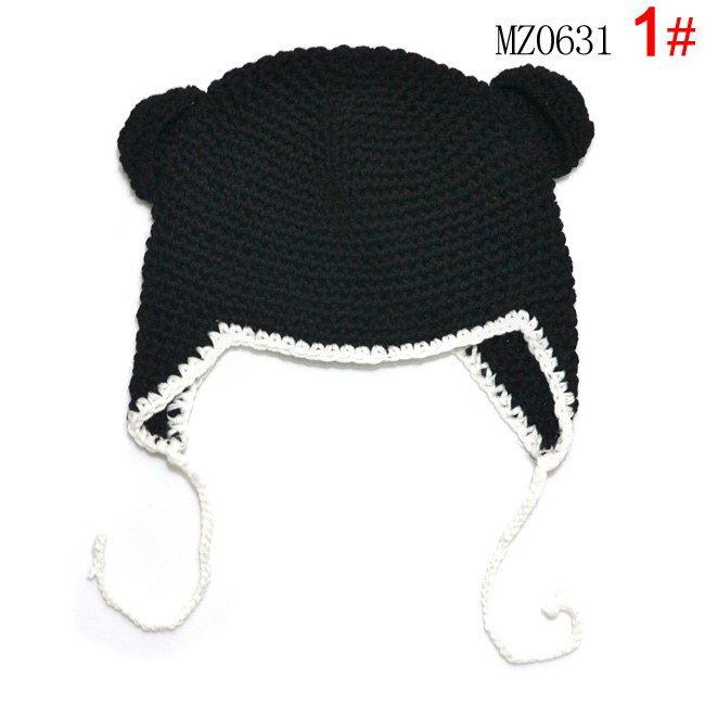 Wholesale Handmade Knitted Baby boy/girl Hat Spring Crochet Girls' Hat Baby Crocheted Beanie black caps Skullies Beanies MZ0631(China (Mainland))