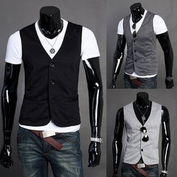 2012 hot!Free Shipping Fashion Men's Suit Vest Top Slim & Fit Luxury business Dress Vest 3 buttons(China (Mainland))