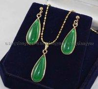 Hand Inlay Green Jade Necklace Pendant earrings Set/18KGP