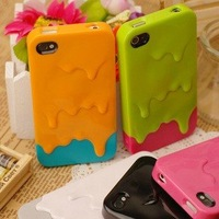 New Ice Cream Plastic Case for iPhone 4 4G 4S ,Colorful Melt Brand Hard Cover for iPhone 4s 4 Freeshipping