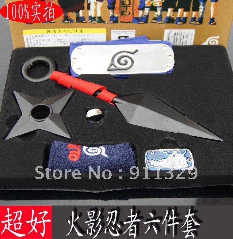 Best-seller !!! Naruto Cosplay Arma Kit Bandana Kunai Faca Shuriken Anel pulseira Frete grátis Frete grátis , 1 pcs(China (Mainland))