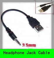 10PCS USB Male to aux 3.5mm Male Jack Plug Audio converter adapter Data Charge Cable