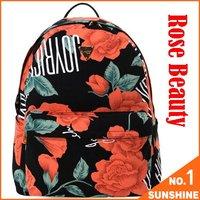 FreeShipping2012 Rose Beauty Canvas Backpack 42*35*16cm Back Pack College Style Hiking Backpacks Women Rucksack Schoolbag HFAN01