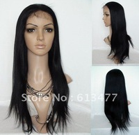 (free shipping + top quality )1#22inch yaki stright wave 100% indian human wigs Front Lace Wig glueless Wig ys017