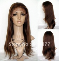 (free shipping + top quality )4#20inch yaki stright wave 100% indian human wigs Front Lace Wig glueless Wig ys025