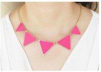 Free Shipping Fashion steampunk statement bib chunky metallic neno triangle collor necklace
