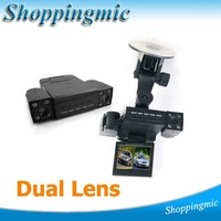 2012 Dual Lens Dual Camera night vision Vehicle Car Camera DVR Dashboard 270 degree Free Shipping, Dropshipping