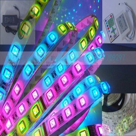 5m 54LED/m waterproof 12V 5050 Scrolling Running RGB LED Strip+12V 5A EU/UK/US/AU Power Adapter + IR Controller(China (Mainland))