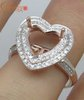 Heart 14k ROSE GOLD DIAMOND SETTINGS SEMI MOUNT RING