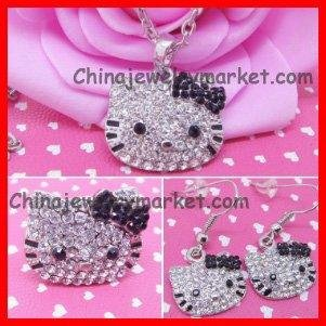 Free Shipping Hello Kitty Black Bow Necklace+Ring+Earring, 36 set/lot+ Free Jewelry Gift Bag(China (Mainland))