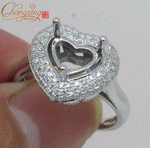 6.5 x 6.5mm Heart Shaped 18k WHITE GOLD 0.68ct DIAMOND SETTING SEMI MOUNT RING Free Shipping Jewlery