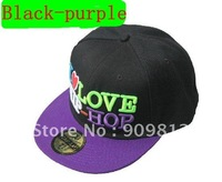 Free Shipping I LOVE HIP-HOP flat-brimmed hat, Hip-hop cap, Baseball hats, Bboy caps 2 color 10pcs/lot
