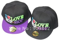 Free Shipping I LOVE HIP-HOP flat-brimmed hat, Hip-hop cap, Baseball hats, Bboy caps 2 color 20pcs/lot