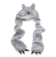 NEW ARRIVAL WINTER cap 3in1 Beanies My Neighbor TOTORO plush hat with mittens/Claw Cosplay costumes Cos gift Halloween Christmas