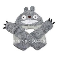 Winter My Neighbor Totoro Plush Hat Cap Gloves Ghibli Totoro Cosplay Costumes Figure with Claw Pockets/mittens fashion cap kid