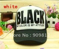 "Free Shipping ""BLACK"" letters truck cap, Sun hat, Mesh caps, Snapbacks hats, Unisex sport hat, 2 colors available"