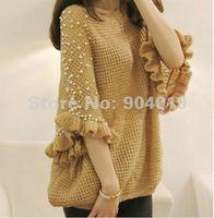 Women Fashion Loose Handmade Pearl Wool Half Sleeve Knitted Sweater Cardigan