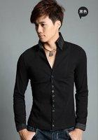 New style korean men fashion long T-Shirts Slim casual cotton turn-down collar Coat shirts free shipping LJ111