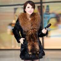Free Shipping by EMS/DHL, Newest,  mid-long, hooded, Korean, self-cultivation, rabbit fur, big_ raccoon_fur collars, fur,coat