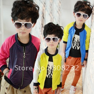 2012 AUTUMN Kid clothes Contrast Color boys' outerwear,coat Wholesale FREE SHIPPING 5pcs/lot