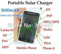 20pcs  /lots  3600mAh Portable Solar Charger LED Flashlight for CellPhones/MP3/MP4/MP5/Tablet PC/DC/DV/GPS/PSP