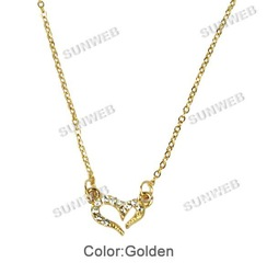 12PCS/LOT Fashion Women's Cute Sweet Lovely Rhinestone Love Heart Chain Necklace Free Shipping 7030(China (Mainland))
