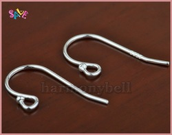 Wholesale Free shipping 925 solid Sterling silver ball end Plain hook Earring EAR WIRE 15x17mm NEW(China (Mainland))
