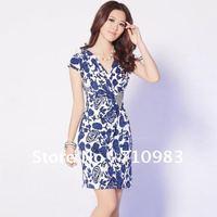 Free shipping fashion dress women&high quality print silk dress for women&knee-length cotton dress
