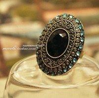 $ 10, wholesale Korean retro blue Baroque Moonlight cover rings C228