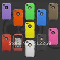 3 in 1 Plastic + Silicone Hybrid Case Cover for iphone 4 4S Different Colors  Fast + Free Shipping