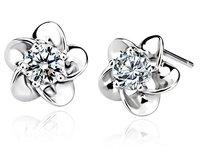 2013 New Arrive 925 Sterling Silver Stud  Earrings Fashion 925 Silver Earring Silver Jewelry Plum Blossom