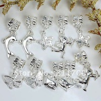 10pcs Mix  Alloy Big Hole Dangle Charm European Beads