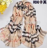 brand new checker print chiffon scarf /grid shawls/Plaid Scarf