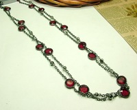 Hotsale long red gem necklace ,  free shipping fashion jewelry , mini. order 15USD (mixed order)