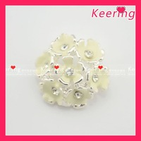 wholesale rhinestone enamel button for wedding bouquet free shipping 100pcs/lot  #WBK-1243