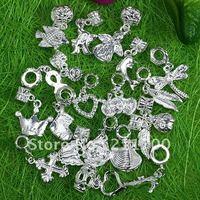 Free shipping 50pcs Silvery Mixed Dangle Big Hole Fit Bracelet Charm European Beads