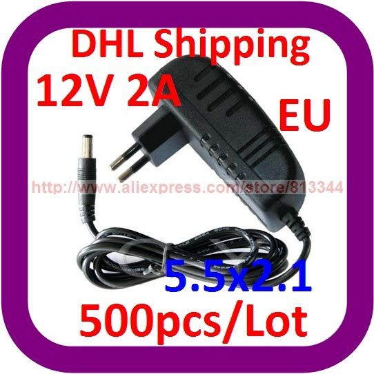 DHL Free Shipping 500pcs/lot AC 100-240V To DC 12V 2A Power Supplier Adapter Charger 2000mA For CCTV Cameras(China (Mainland))