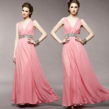 free shipping Luxury elegant deep V-neck formal dress bridal wedding small evening dress evening dress long design