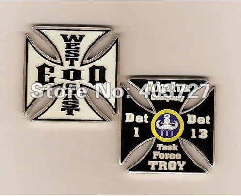 US Navy West Coast EOD Alpha Company DET 1 & 13 Task Force Troy Challenge Coin, 100pcs/lot wholesale(China (Mainland))